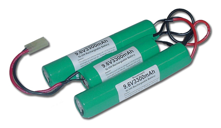 Two 9.6V 1100mAh Airsoft Mini Battery Packs + Ultrafast / Smart Charger-- 30 Minutes only