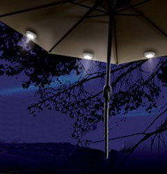 Connect LED light to excluded umbrella (2 pcs Solar LED lights per item) & 2pcs Solar Powered Umbrella/Tent LED lights