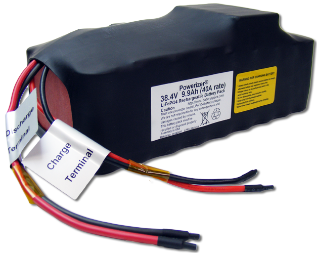 LFP Battery: 38 4V 9 9Ah (380Wh, 40A rate ) with PCM for E-Bike