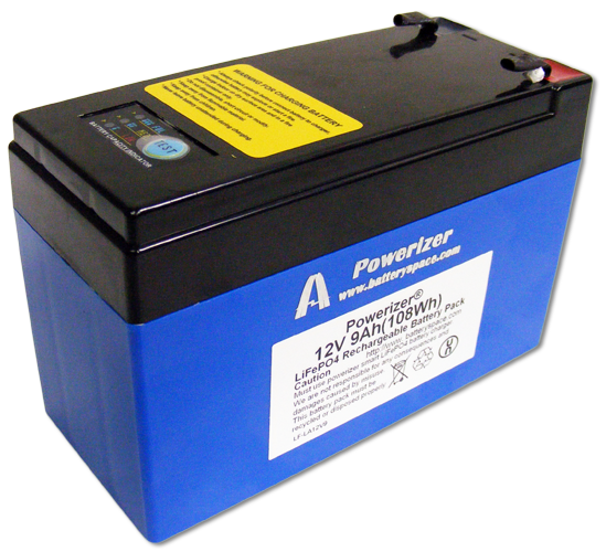 LiFePO4 Battery 12V 9Ah 108Wh 18A Rate With LED Indicator